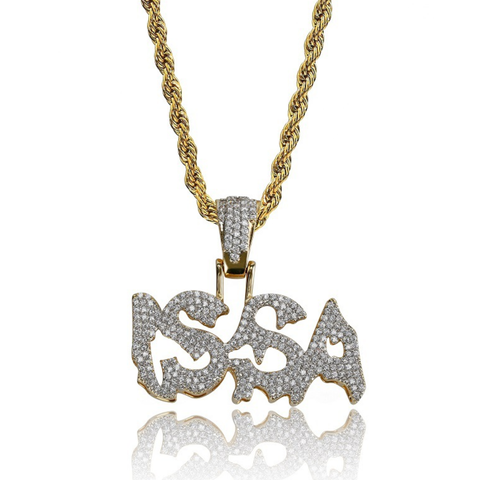 ISSA Hip Hop Super Bling Zircon Inlaid Twist-link Chain Pendent Necklace