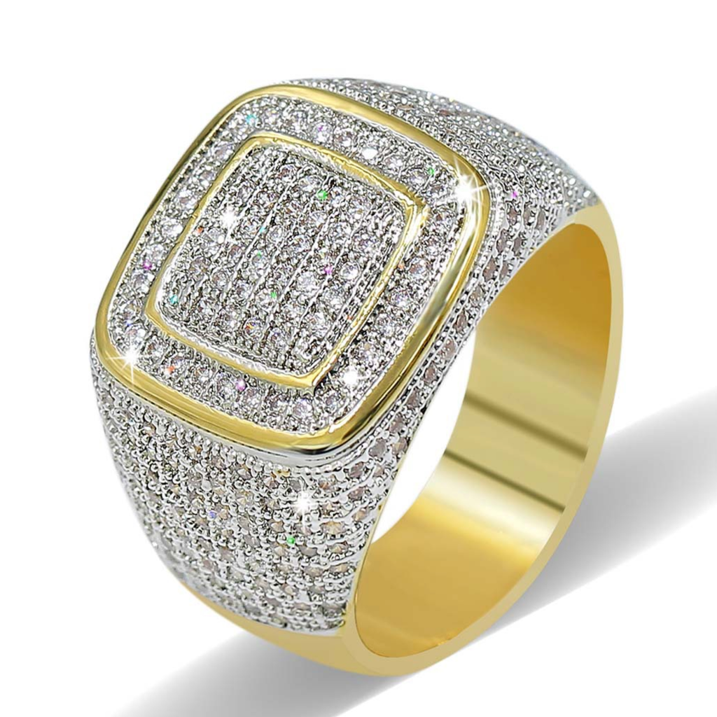 Hip Hop Super Bling Zircon Inlaid Men's Ring