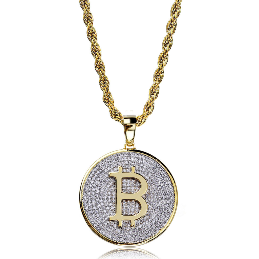 Bitcoin Shaped Zircon Inlaid Gold Plated Pendant Necklace