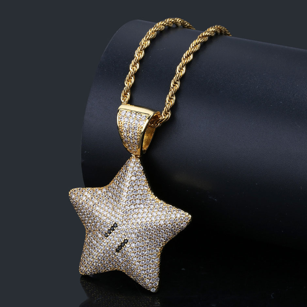 Pentagram Shaped Zircon Inlaid Gold Plated Pendant Necklace