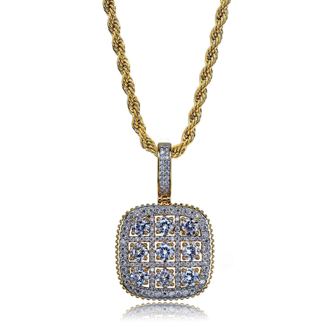 Retro Square Shaped Zircon Decorated Gold Plated Unisex Pendant Necklace