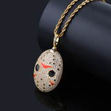 Jason Voorhees Zircon Decorated Gold Plated Unisex Pendant Necklace