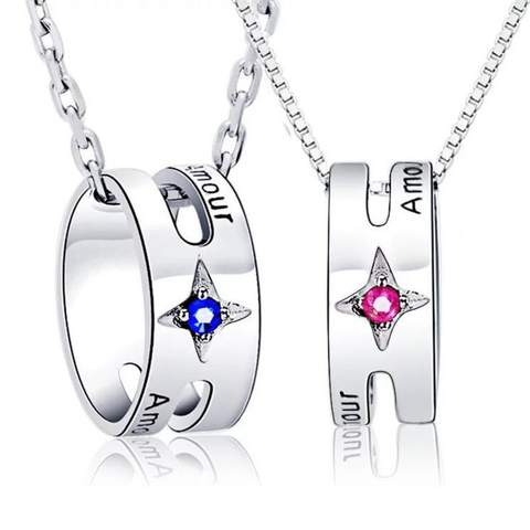 """Amor"" 925 Sterling Silver Couple Necklaces"