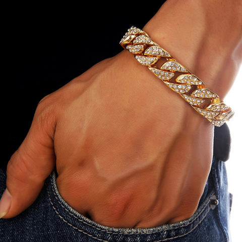 Cuban Chain Zircon Decorated Men's Bracelet
