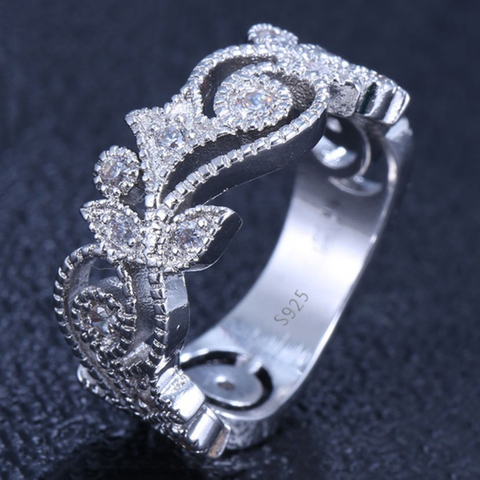 Hollow Flower Shaped 925 Sterling Silver Engagement Ring