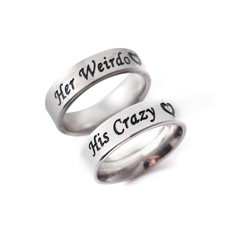 His Crazy & Her Weirdo Titanium Steel Couple Rings