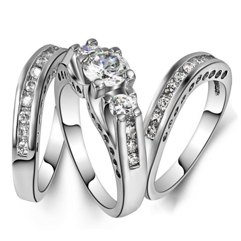 High Fashion Brilliant Cut Zircon Inlaid Engagement Ring Set