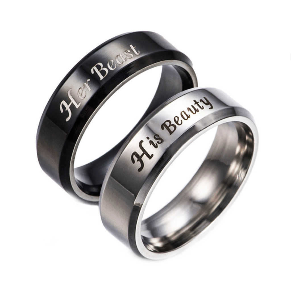 His Beauty & Her Beast Titanium Steel Couple Rings
