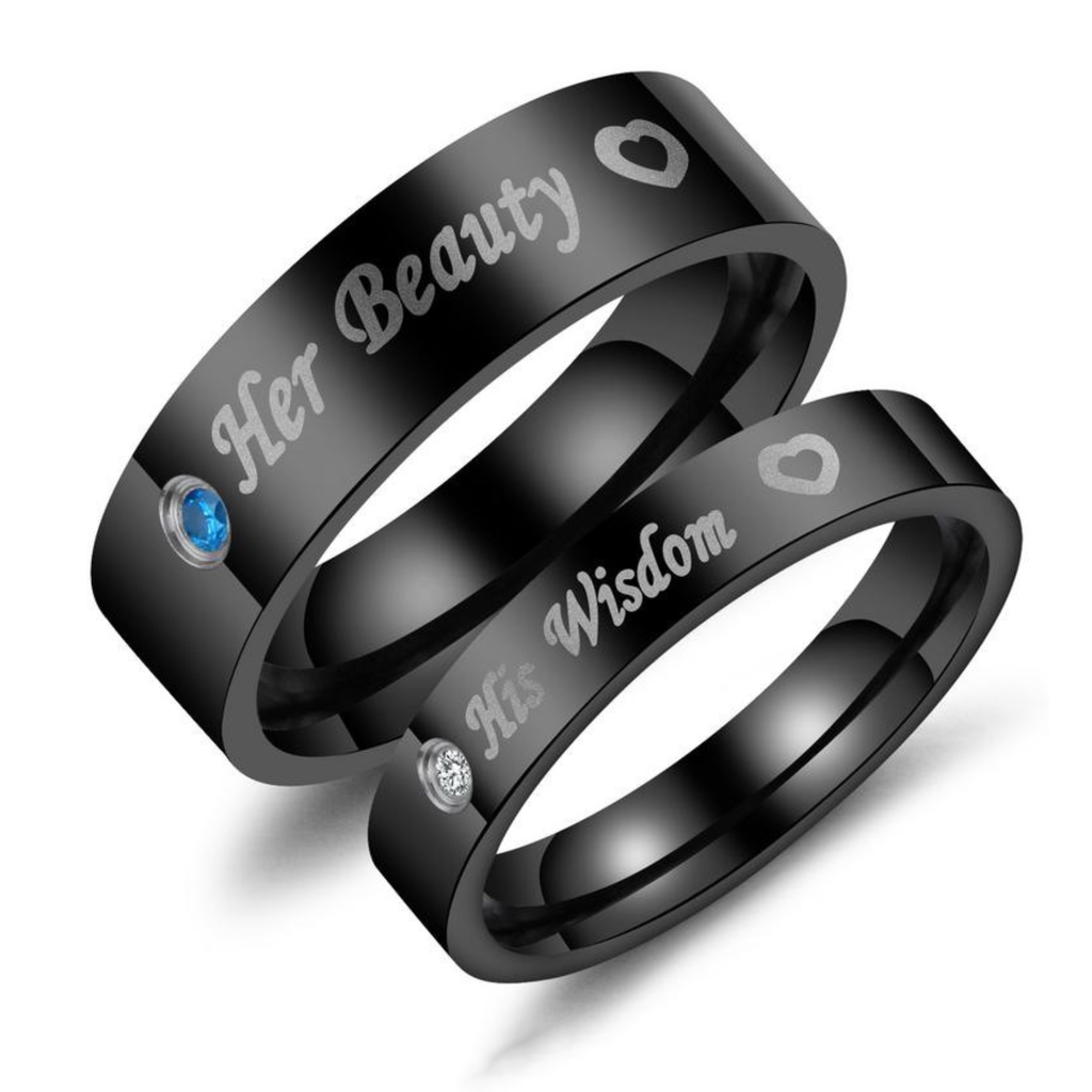 Her beauty & His wisdom Titanium Steel Couple Rings