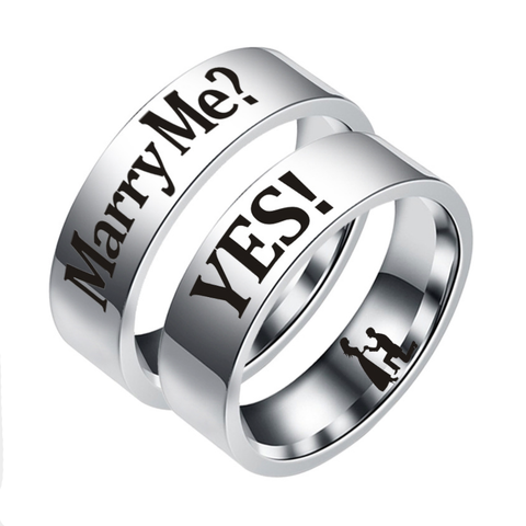 """Would You Marry Me"" Titanium Couple Rings"