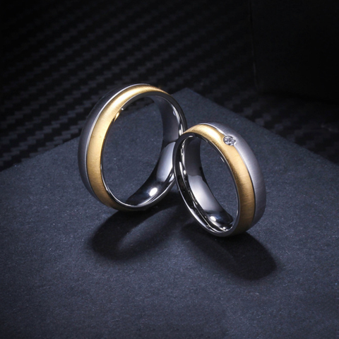 Simple Fashion Gold & Silver Titanium Steel Couple Rings