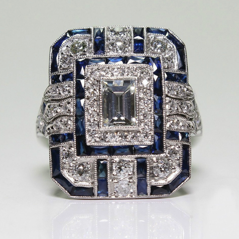 Retro Square Artificial Sapphire Zircon Inlaid Engagement & Wedding Ring