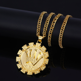 KING Crown Gold Plated Pendant Necklace
