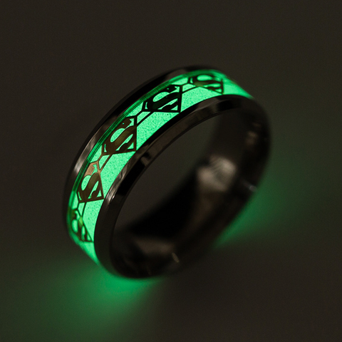Superman Luminous Titanium Steel Couple Rings