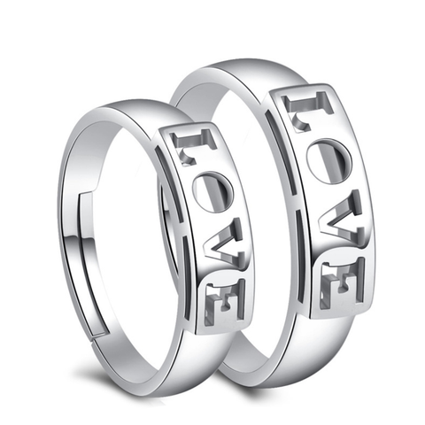 "Hollowed ""LOVE"" 925 Sterling Silver Couple Rings(Open Size)"