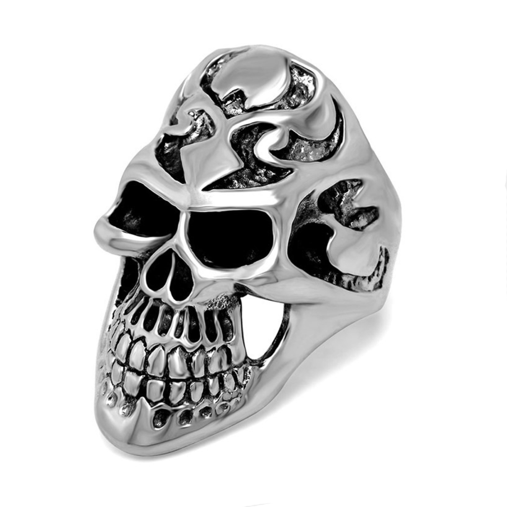 Titanium Steel Grim Reaper Skull Men's Ring