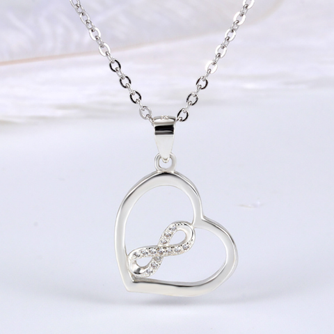 Heart Shaped Infinite Love Silver Pendant Necklace