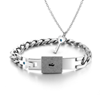 925 Sterling Silver Women Key Necklace Titanium Men Bracelets Set For Couple