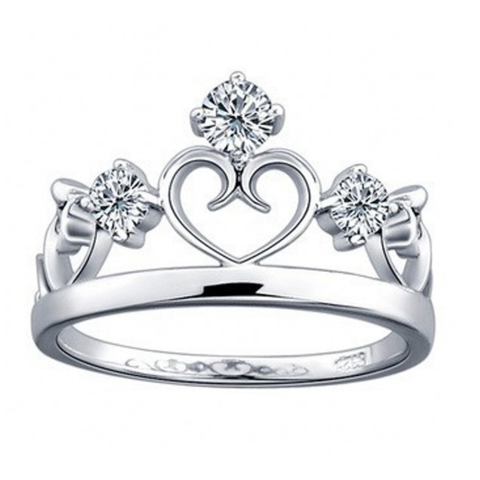 Princess Crown 925 Sterling Silver Statement Ring