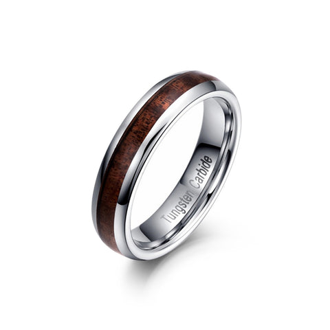 Polished Wood Inlay Tungsten Statement Ring