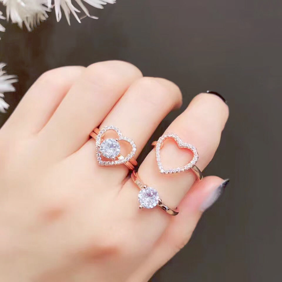 Heart Shaped Zircon Inlaid Love Engagement Ring Set