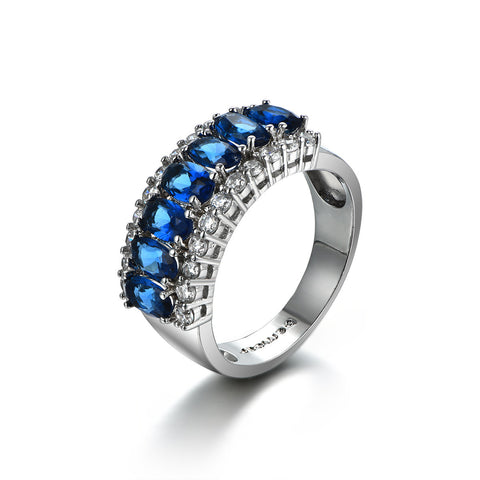 Personalized Shine in Deep Blue Promise Ring