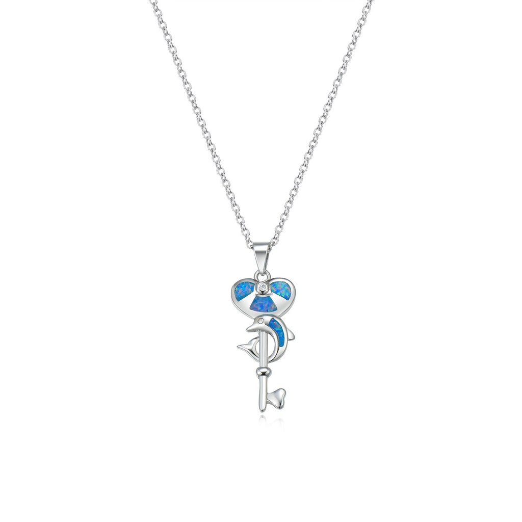 Blue Dolphine Pendant Necklace