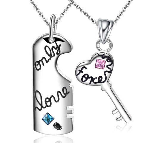 Interlocking 'Only Love Forever' Titanium Steel Couple Necklaces