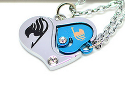 Fairy Tail Couples Diamond Heart Pendant Necklaces