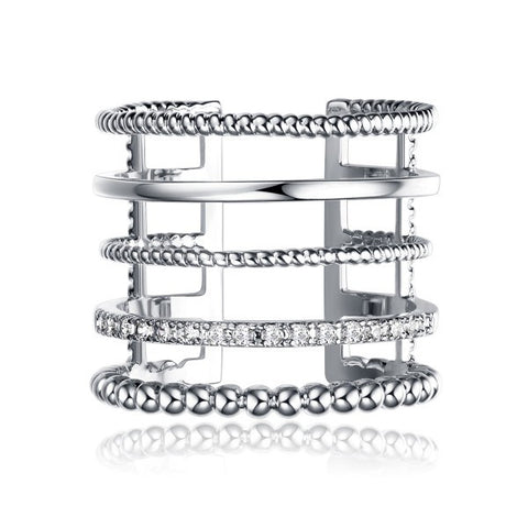 Fashionable Multi-tier Silver Plated Copper Cubic Zirconia Open Rings