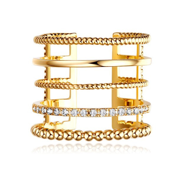 Fashionable Multi-tier Gold Plated Copper Cubic Zirconia Open Ring