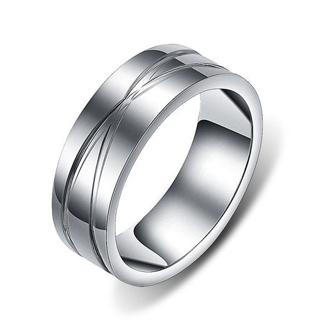 Personalized Crossing Grooved Silver Titanium Steel Men Ring