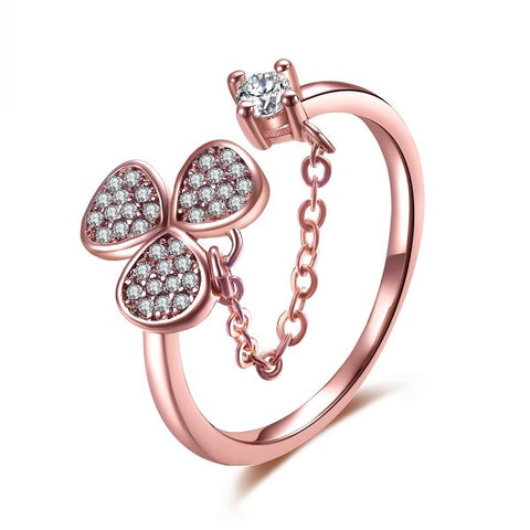 Lovely Clover Rose Gold-plated CZ Inlaid Adjustable Opening Cocktail Ring