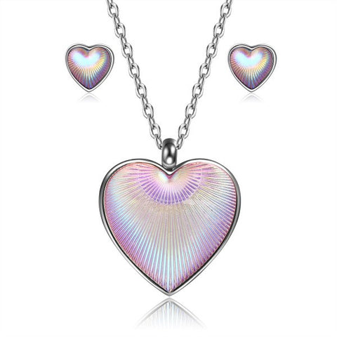 Heart Shape Purple Alloy Earring Necklace Set