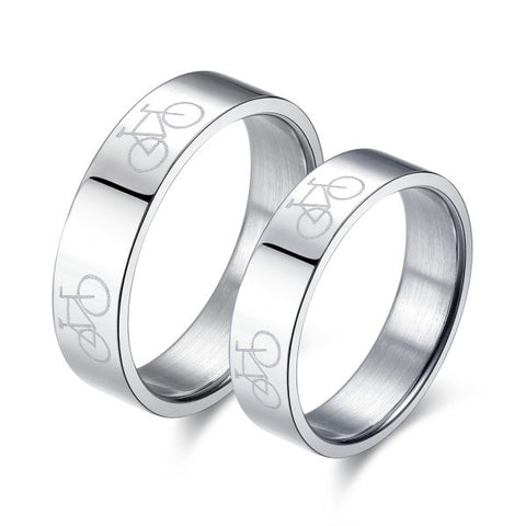 Personalized Bike Titanium Steel Couple Rings (Price For a Pair)