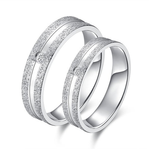 Personalized Matte Surface Silver Diamond Couple Rings