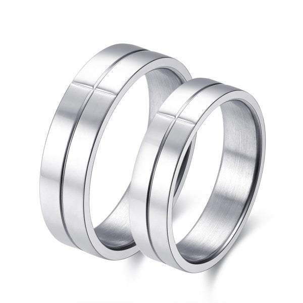 Cross Grooves Silver Titanium Steel Couple Rings