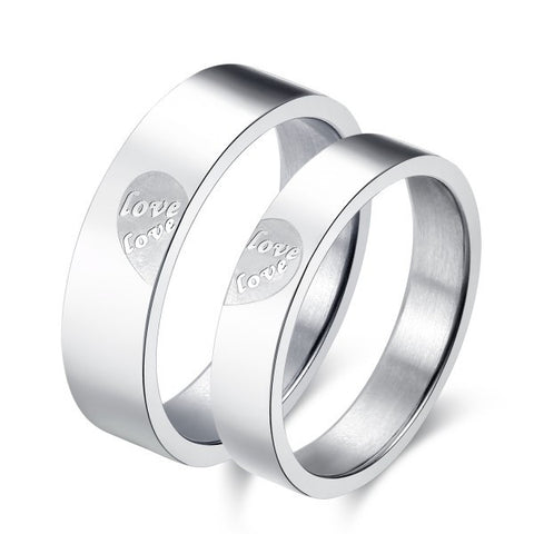 Personalized Love Heart Titanium Steel Couple Rings