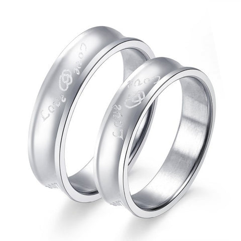 Heart Linked Silver Titanium Steel Couple Rings
