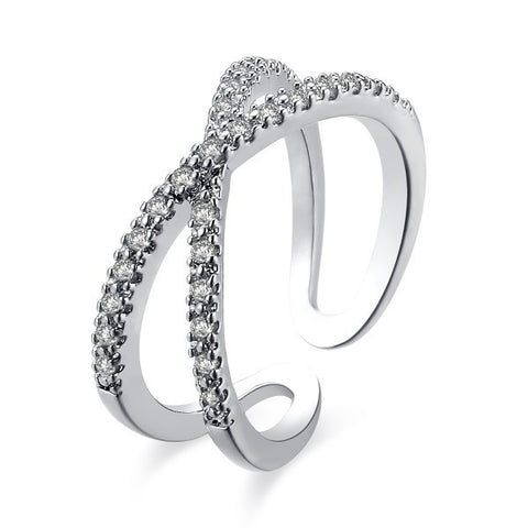 X Shape Silver Diamond Cocktail MIDI Ring