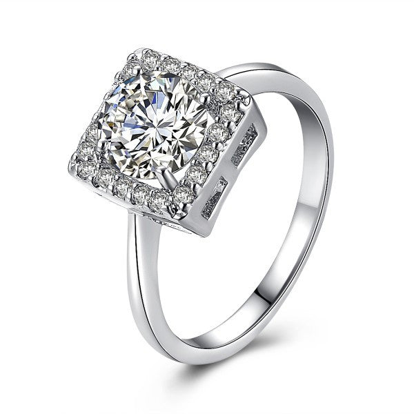 Square Silver Diamond Women Cocktail Ring