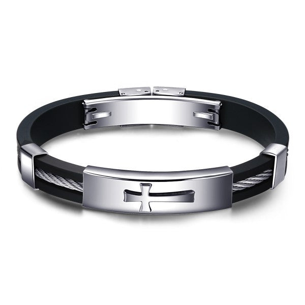 Cross Black Silica Gel & Silver Metal Men's Bracelet