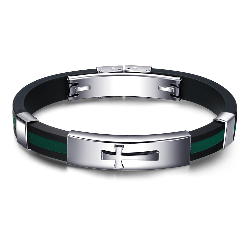 Men's Bracelets Cross Genuine Silicone Black-Green