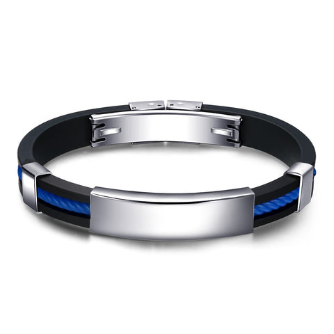 Simple Black And Blue Silica Gel Men's Bracelet