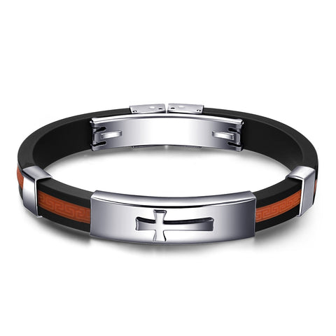 Cross Black And Orange Silica Gel Men's Bracelet