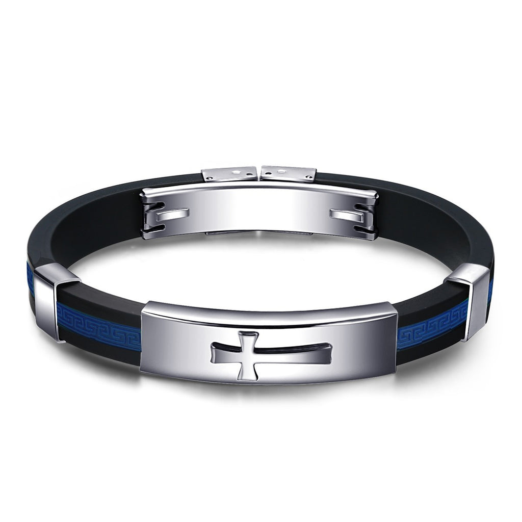 Cross Silicone Black-Dark Blue Men's Bracelet