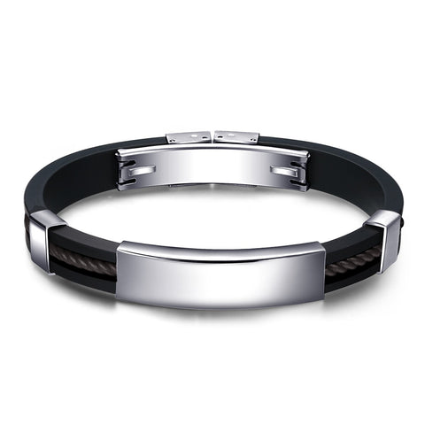 Men's Bracelets Daily Cool Genuine Silicone Black