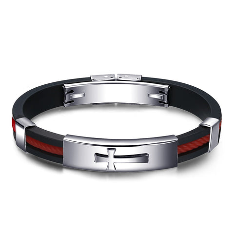 Silicone Gel Cross Stainless Steel Black& Red Men Bracelets