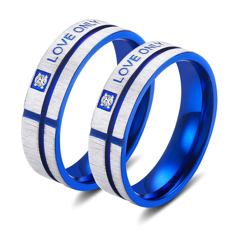 """Love Only You"" Blue Cross Matte Titanium Lover Couple Rings"