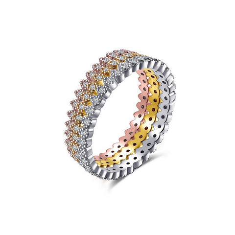 Tri Color Milgrain Edged Stackable Cubic Zirconia Eternity Band Rings 3pcs A Set